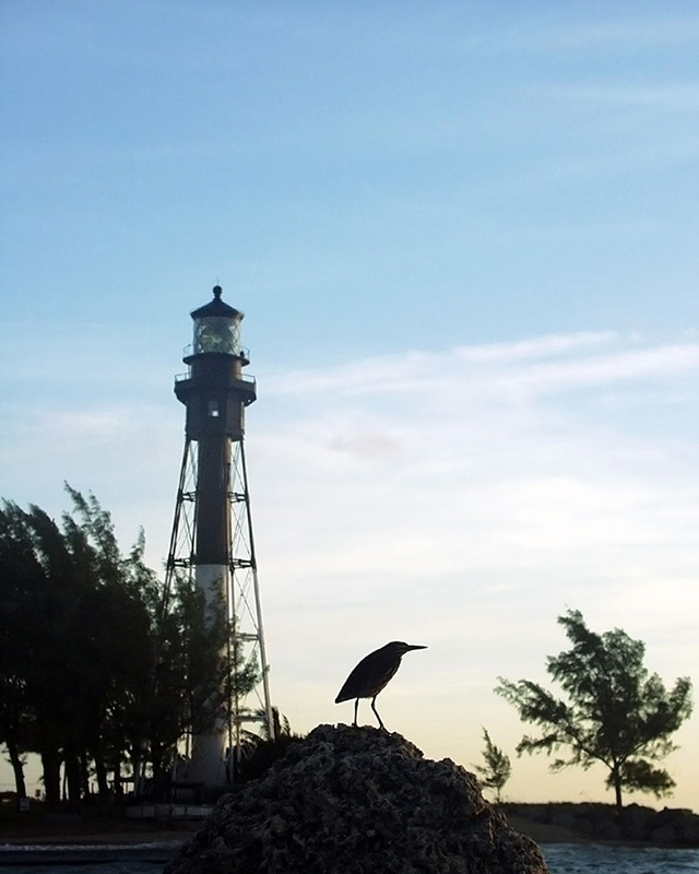heron with lighthouse 2001